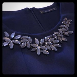 Zara Navy Scuba 3/4 Sleeve Dress w/ Rhinestones
